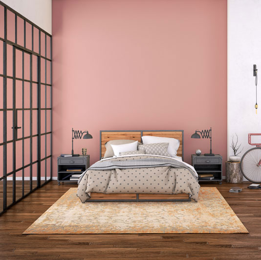 modern bedroom interior with blank wall