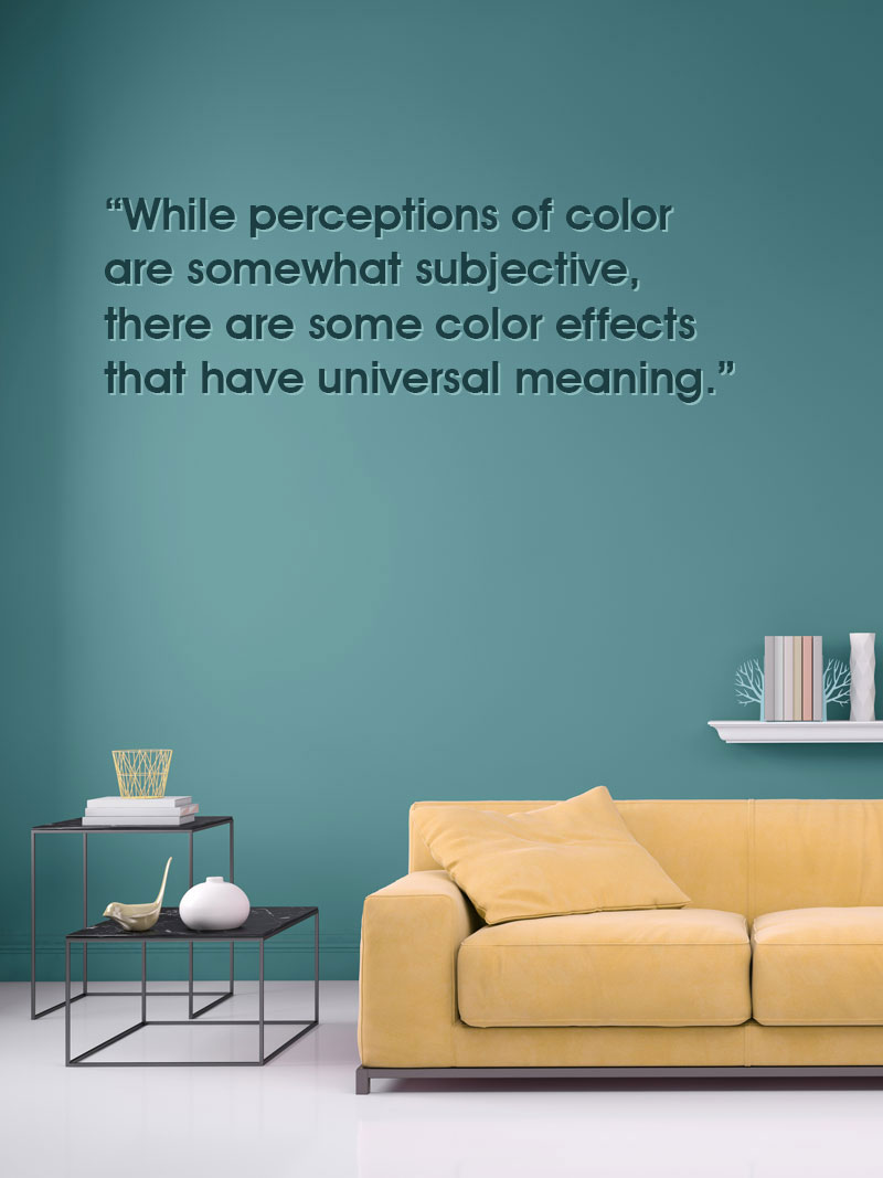 pastel colored sofa with blank wall